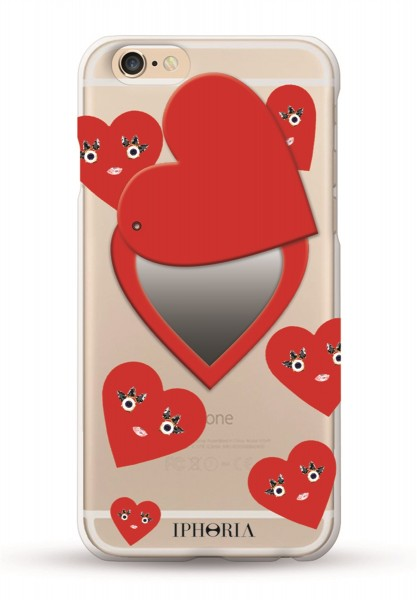 Miroir au Portable Cute Hearts Red für Apple iPhone 6/ 6S 1