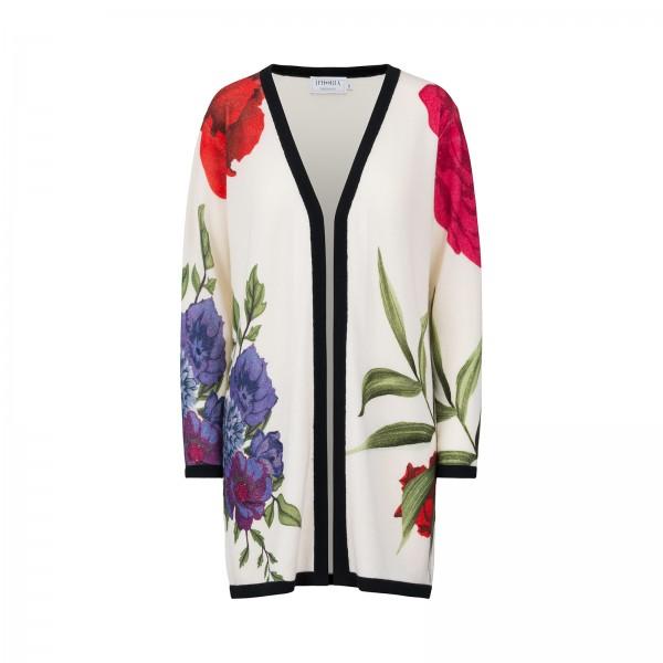 100% Cashmere Cardigan - Flowers Multicolor - Size 2 1