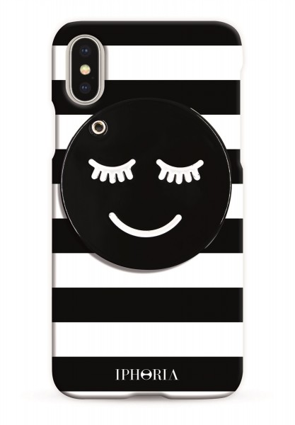 Case with Mirror for Apple iPhone X/XS - Striped Smiley 1