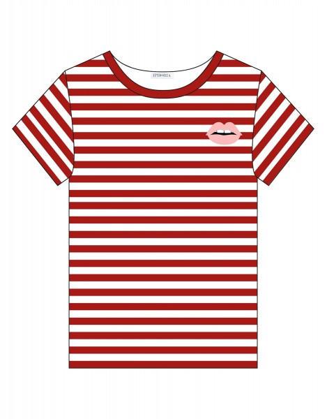 T-Shirt - Stripes Red White Lips Small Size 1 1
