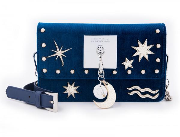 Micro Shoulder / Belt Bag - Blue Stars Moon Velvet 1