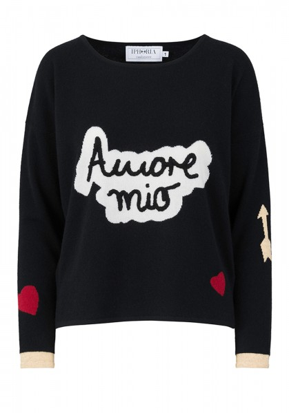 100% Cashmere Boxy Sweater - Amore Mio Black - Size 1 1