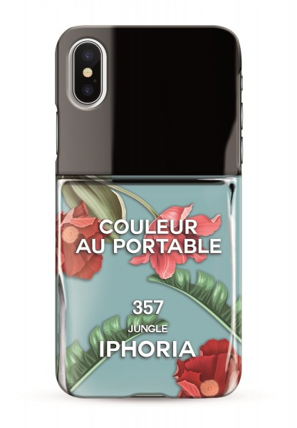 Case for Apple iPhone X/XS - Nailpolish Blue with Flowers 1