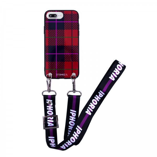 Necklace Case for Apple iPhone Xs Max with Logomania/Purple Strap - Tartan 1