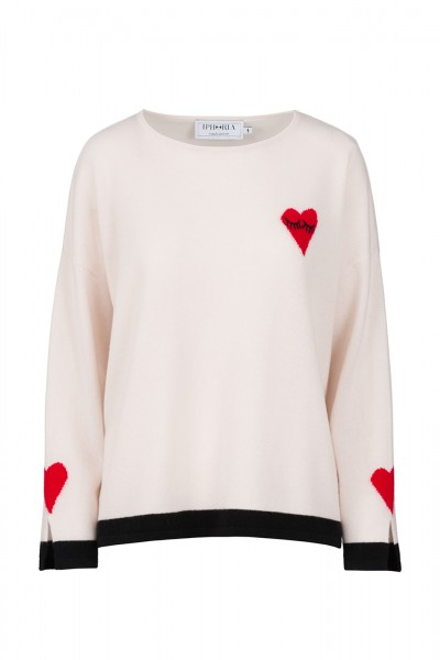 100% Cashmere Oversized Pullover - Heart Eyes Red Size 2 1
