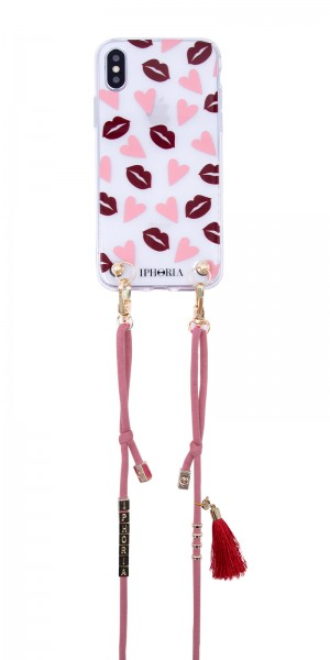 Necklace Case  for Apple iPhone X/XS - Lips & Hearts 1