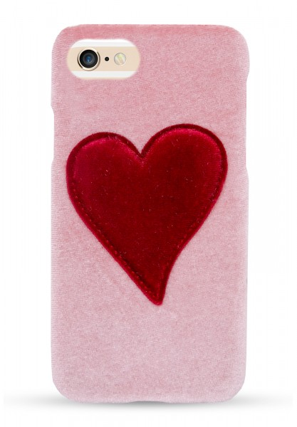 Velvet Case for Apple iPhone 7/8 - Pink With Red Heart 1