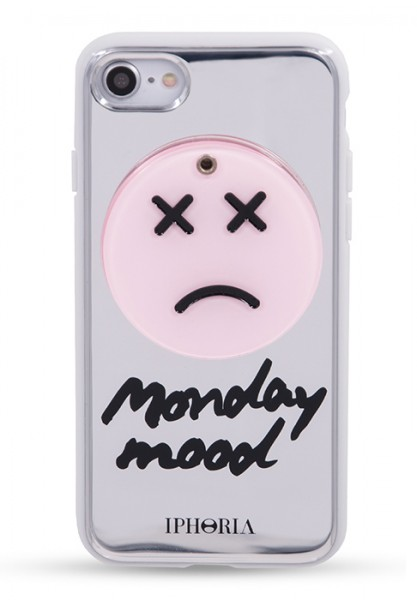 Case with Mirror for iPhone 7 - Sad Smiley Silver 1