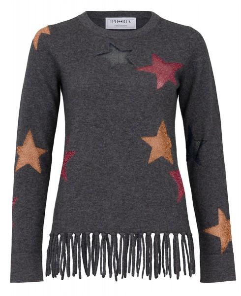 Cashmere Fitted Jumper Starry fringes. Größe 2 1