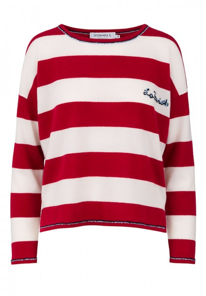 100% Cashmere Boxy Sweater - Red Stripes - Size 2 1