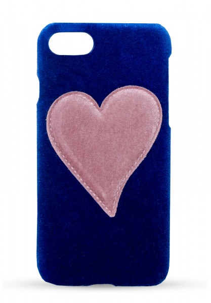 Velvet Case for Apple iPhone 7/8 -  Blue With Pink 1