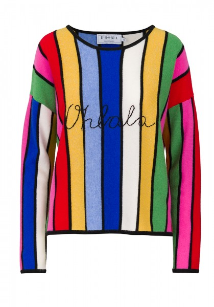 100% Cashmere Boxy Sweater - Stripes Multicolor Oh lala Black - Size 1 1