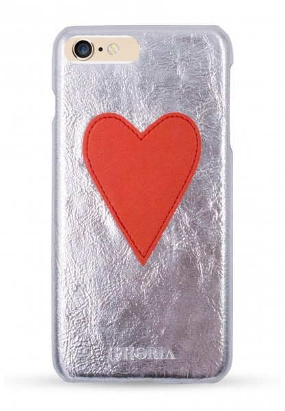Case Silver Metallic Red Heart für iPhone 7 Plus/ 8 Plus 1