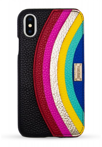 Veggie Leather Case for Apple iPhone X/XS - Rainbow Big 1
