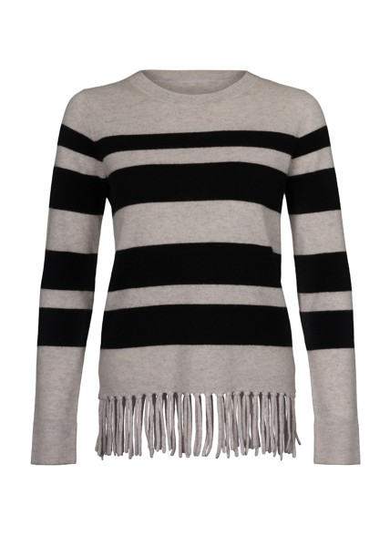 Cashmere Fitted Jumper Stripes & Fringes black. Größe 1 1