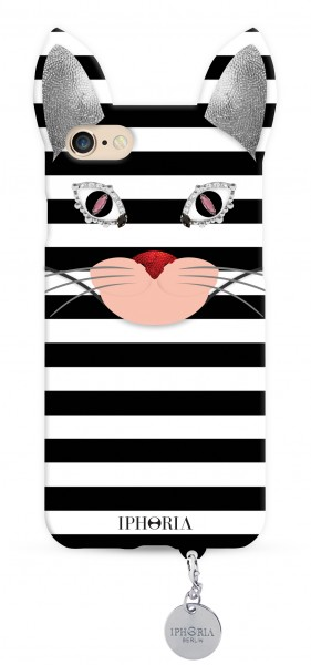 Wild Case Stripy Cat with Silver Pendant for iPhone 7/ 8 1