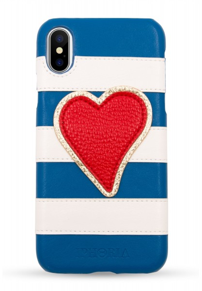 Veggie Leather Case for Apple iPhone X/XS - Stripes Blue and White Heart Red 1
