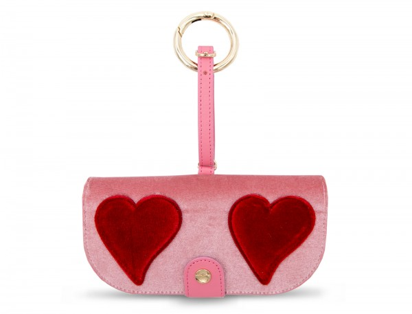 Glasses Case with Bag Holder - Pink Velvet With Red Heart 1