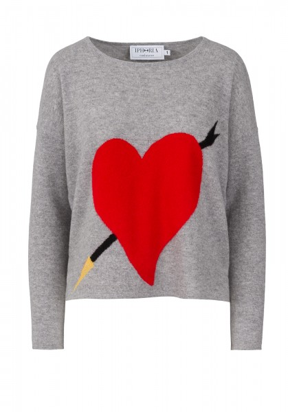 Cashmere Boxy Sweater - Grey with Heart Red - Size 2 1