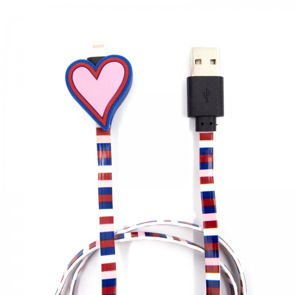 Charging Cable for Apple iPhone - Heart Red Rosa 1