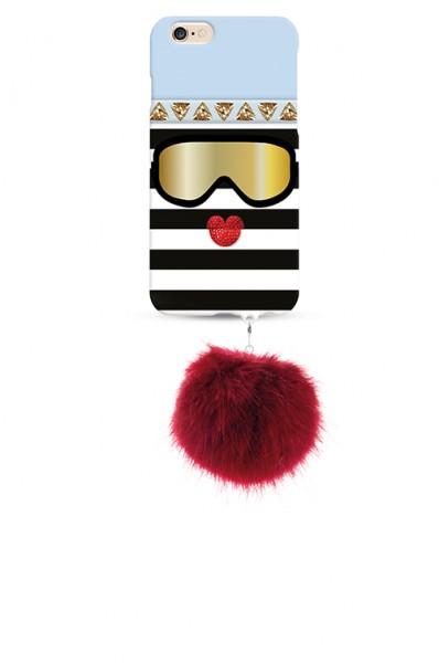 Monster Cool Ice mit rotem Rabbit Pom Pom für Apple iPhone 7/8  1