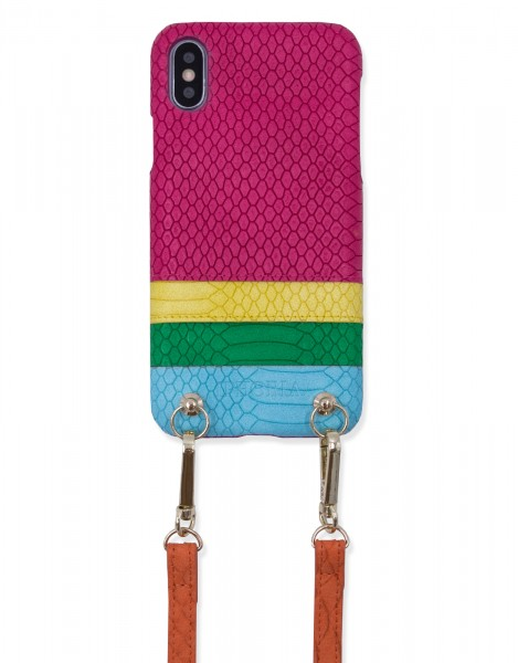 Necklace Strap Case With Card Slot for iPhone X/XS - Pink Rainbow - Stay With Me 1