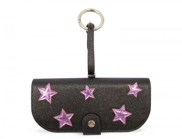 Glasses Case with Bag Holder - Olive Green With Pink Stars & hook in gold 1