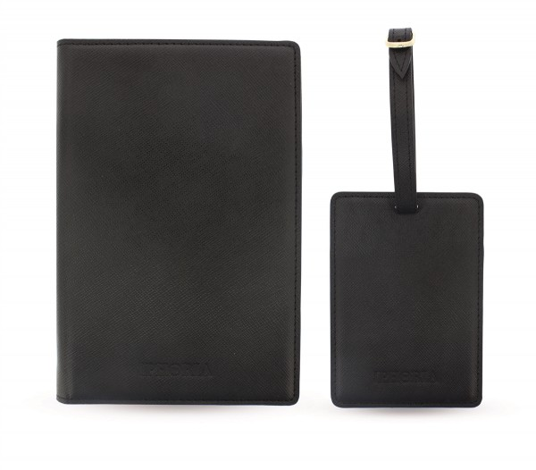 Travel Kit (Passport Holder + Luggage Tag) Personalize Black 1