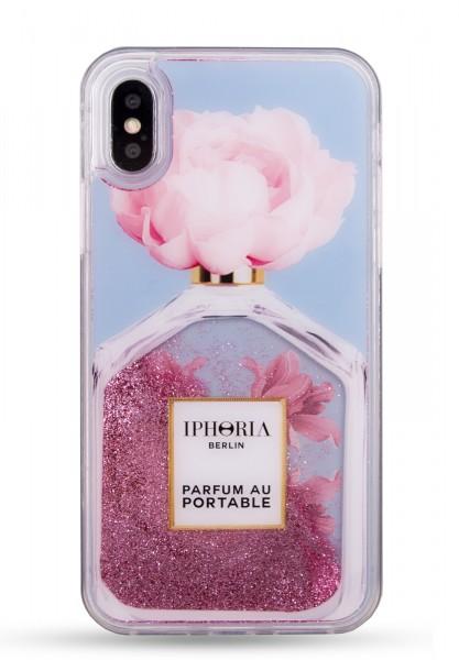 Liquid Case for Apple iPhone X/XS - Perfume Oblique Flower Light Blue  1