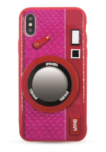 Case with Mirror for Apple iPhone X/XS - Camera Red Pink 1