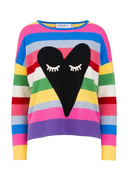 Cashmere Boxy Sweater - Multicolor Heart With Eyes Size 2 1
