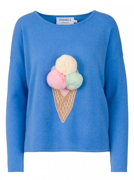 100% Cashmere Boxy Sweater - Blue Summer Feelings - Size 2 1
