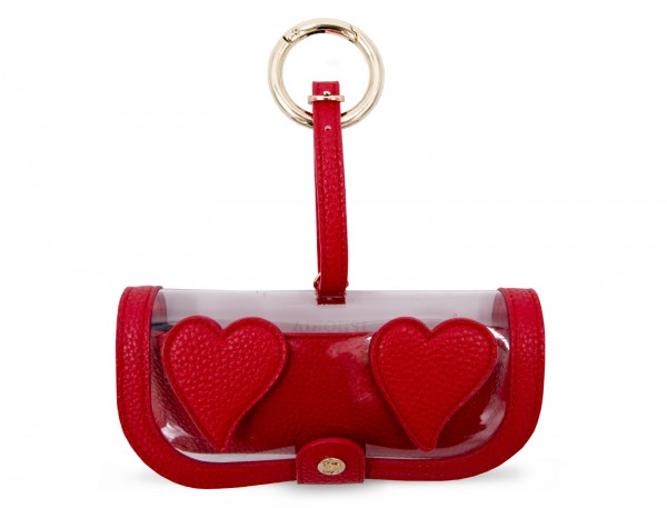 Glasses Case with Bag Holder - Red Heart Transparent 1