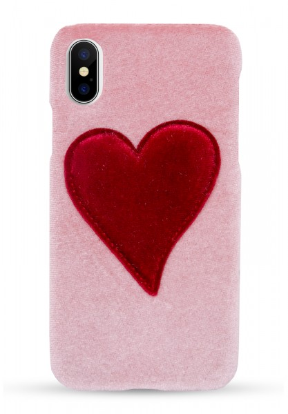 Velvet Case for Apple iPhone X/XS - Pink With Red Heart 1
