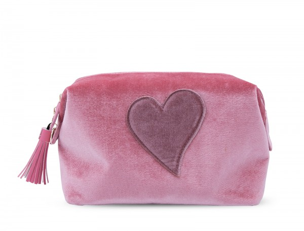 Washbag - Nude with Pink Heart 1