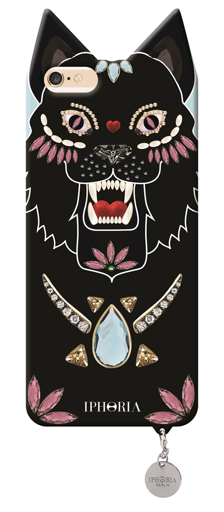 Animal Monster Black Dog with silver plate for Apple iPhone 6/ 6S