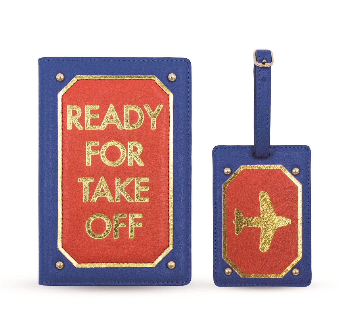 Travel Set with Passport Case and Luggage Tag Ready for Take Off