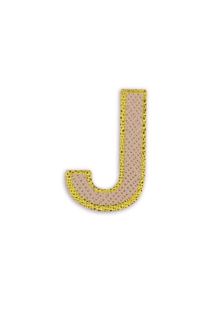 Leather Sticker Letter J Rose Gold