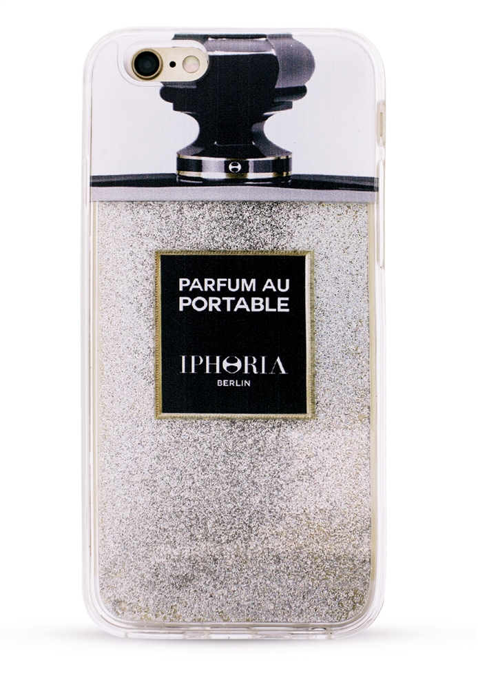 liquid case parfum au portable silver glitter for apple. Black Bedroom Furniture Sets. Home Design Ideas