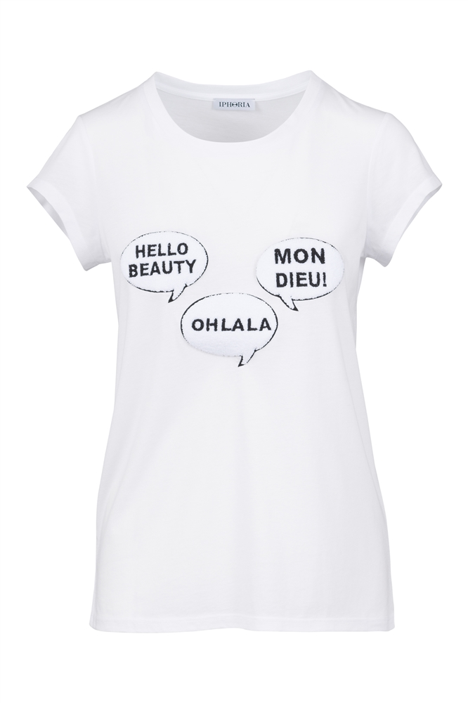 IPHORIA READY TO WEAR COLLECTION T-Shirt Speechbubbles. Size 2