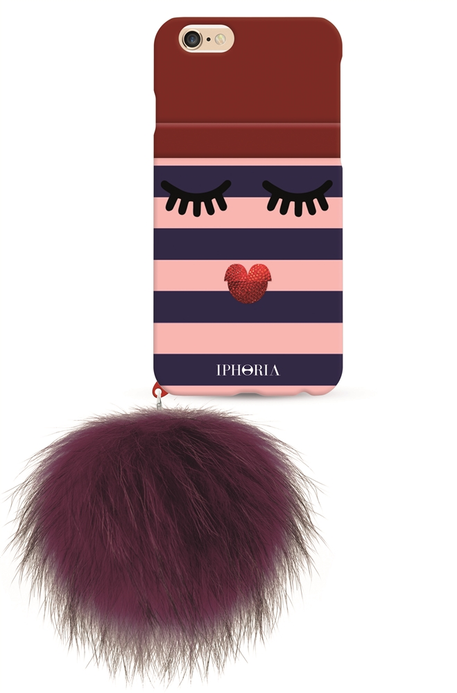 IPHORIA COLLECTION Monster Golden Stripes with red Racoon Pom Pom for Apple iPhone 7